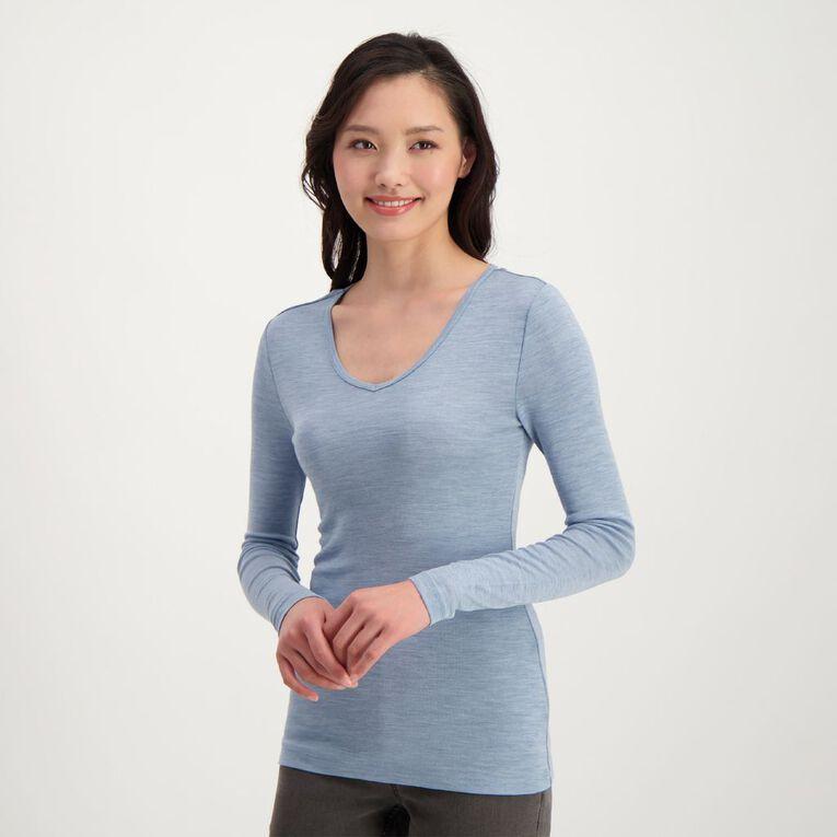 H&H Women's Merino Blend V Neck Top, Blue Light, hi-res image number null