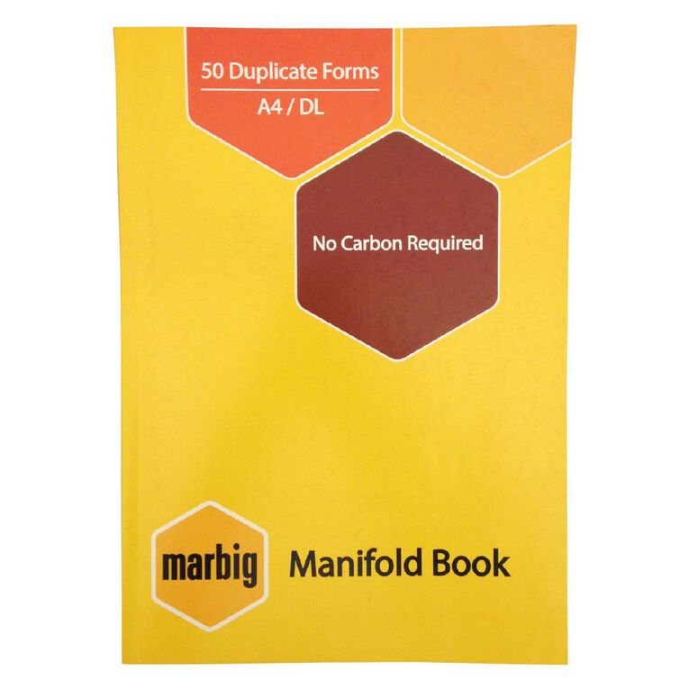 Marbig Manifold Ruled Book Duplicate 50 Leaf Yellow A4, , hi-res image number null