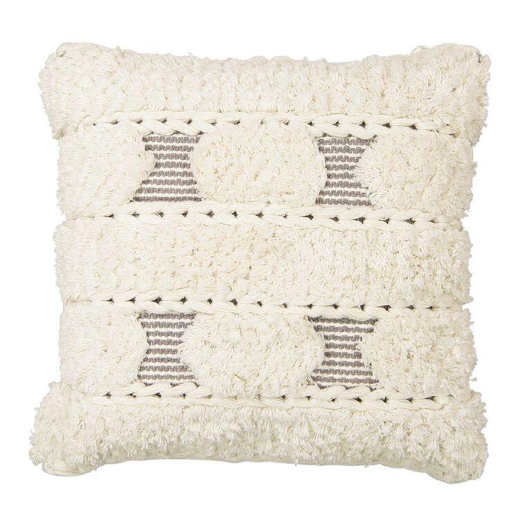 Living & Co Trenza Cotton Cushion Natural 45cm x 45cm, Natural, hi-res