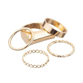 Chunky Square Gold Ring Set