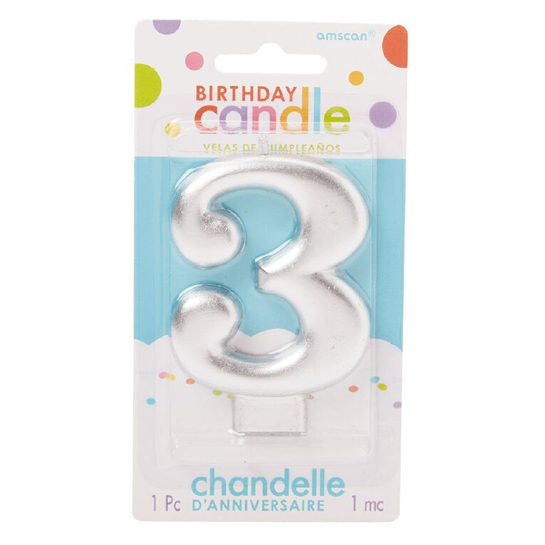 Candle Metallic Numeral #3 Silver, , hi-res