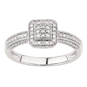 1/10 Carat of Diamonds Sterling Silver Diamond Antique Square Ring