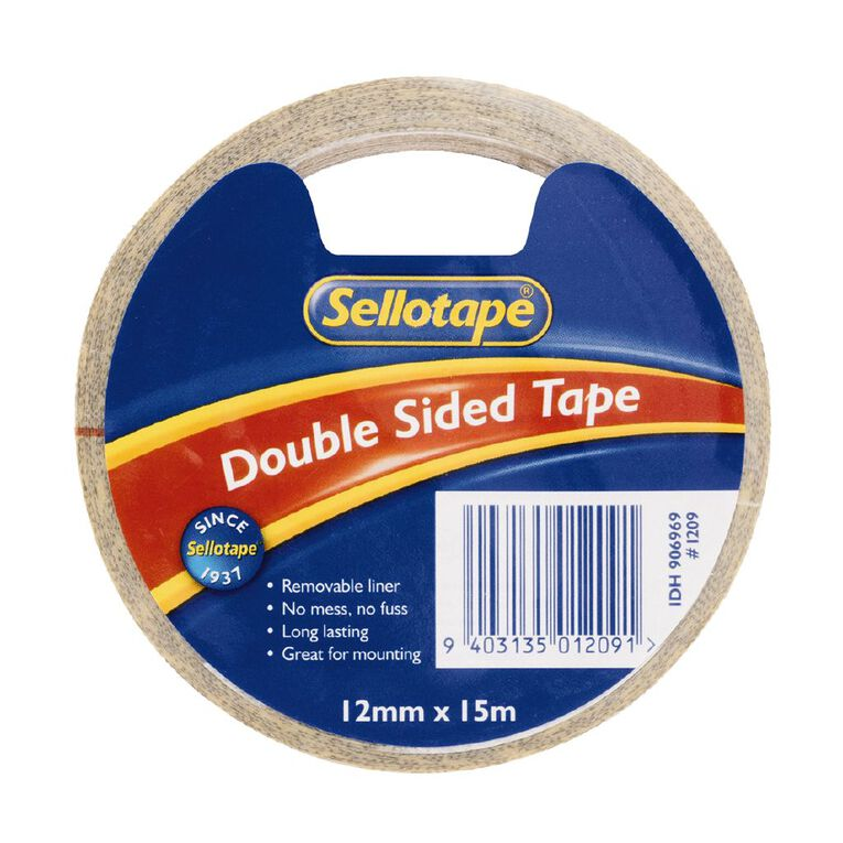 Sellotape Double Sided Tape 12mm x 15m Single Clear, , hi-res