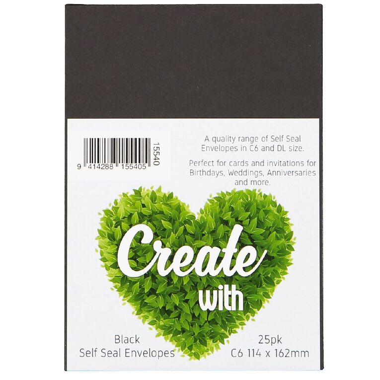Create With C6 Envelopes 25 Pack Black, , hi-res