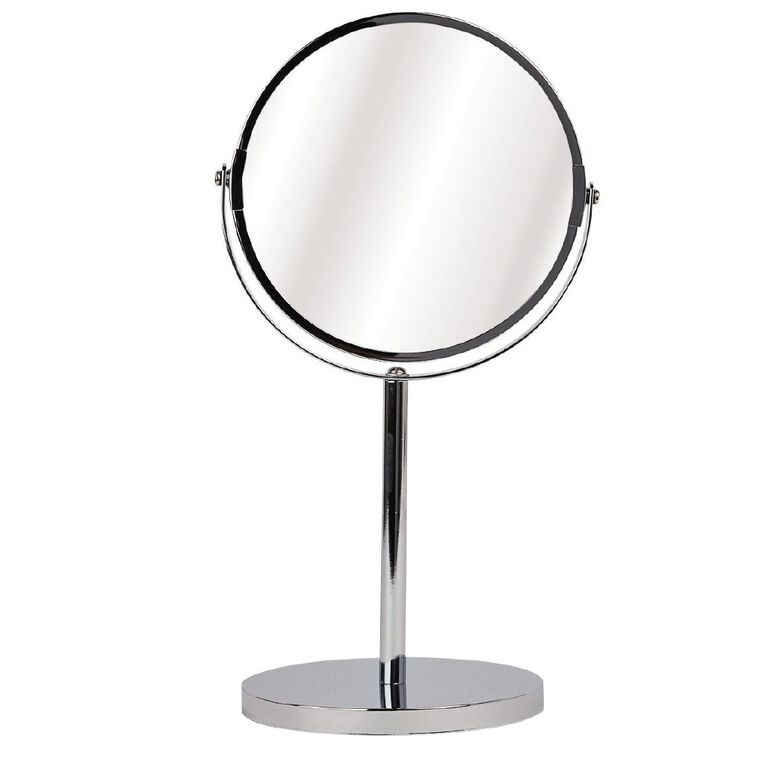 Living & Co Bathroom Mirror On Stand Chrome Plated Silver 17cm, Silver, hi-res