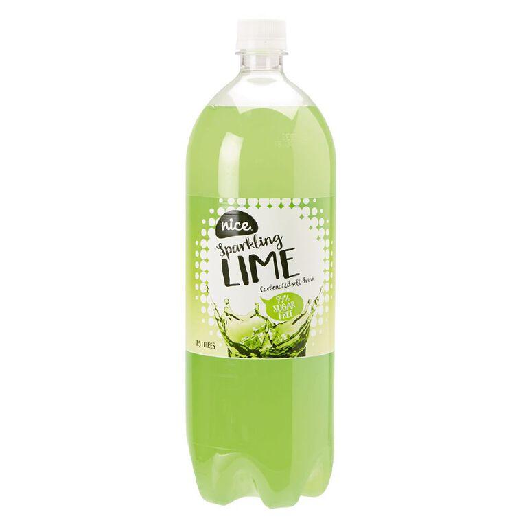 Nice 99% Sugar Free Lime Carbonated Beverage Drink 1.5L, , hi-res