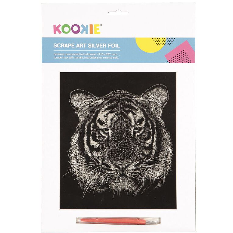 Kookie Scrape Art Set Silver Grey 1 Pack, , hi-res