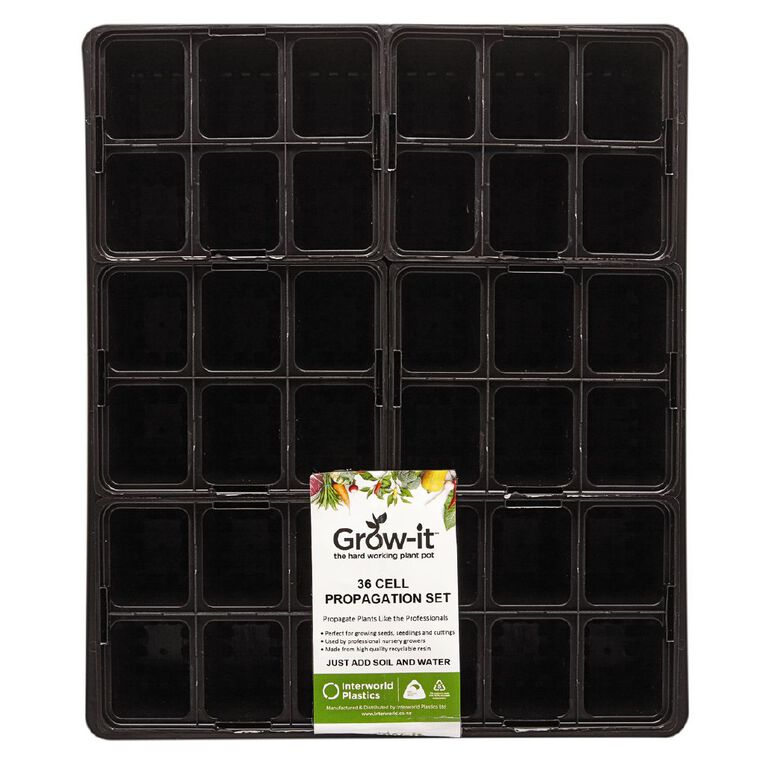 IP Plastics Standard Tray with 6 x 6 Cell Punnets Black, , hi-res