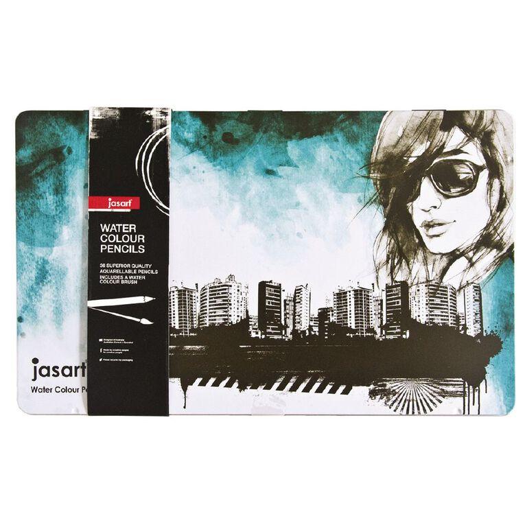 Jasart Watercolour Pencils in Tin 36 Pack, , hi-res