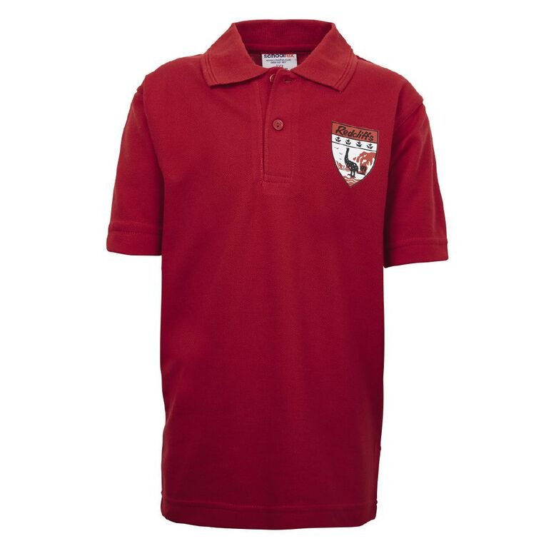 Schooltex Redcliffs Short Sleeve Polo with Screenprint, Red, hi-res