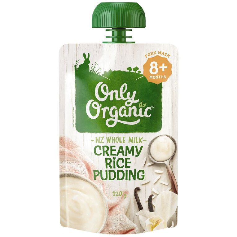 Only Organic Creamy Rice Pudding Pouch 120g, , hi-res