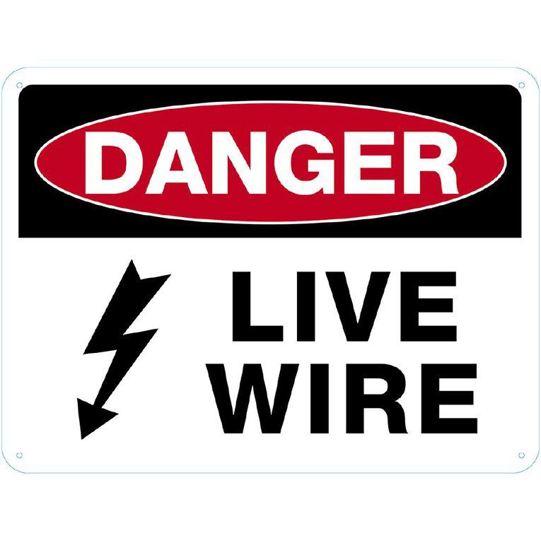 WS Danger Live Wire Sign Large 450mm x 600mm, , hi-res
