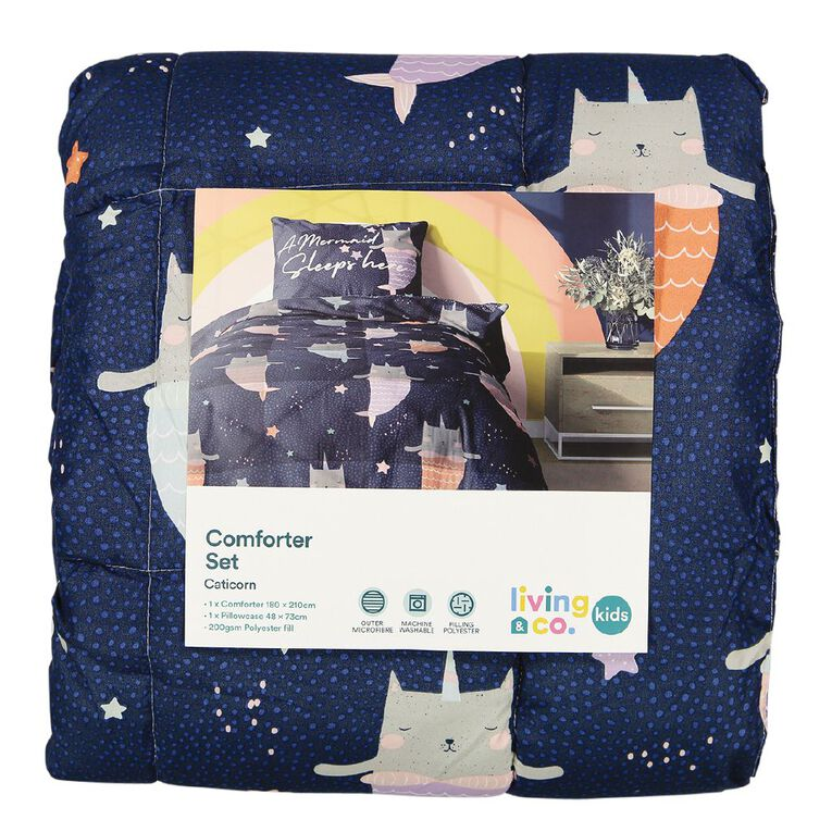 Living & Co Kids Comforter Set Caticorn Blue King Single, Blue, hi-res