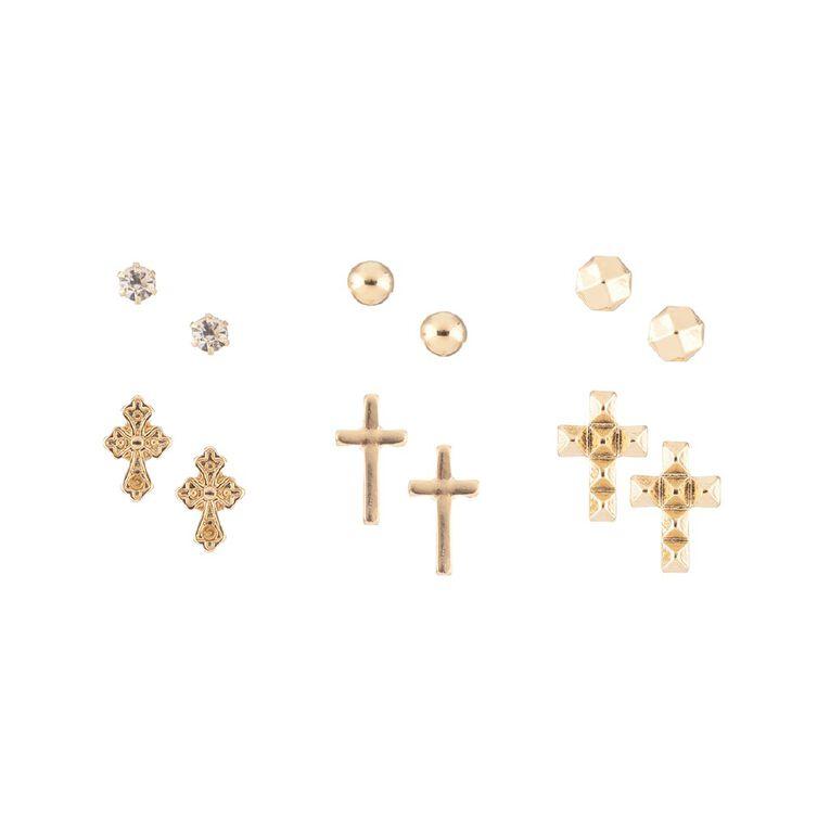 Cross Diamante Stud Gold Earring 6 Pairs, , hi-res