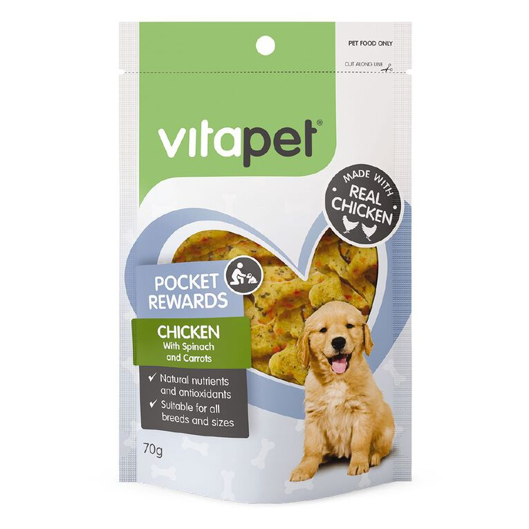 Vitapet Dog Treats Pocket Rewards Chicken & Veggies 70g, , hi-res