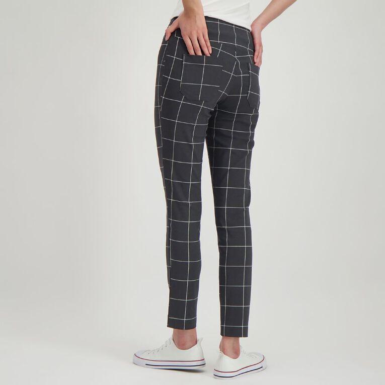 H&H Women's Printed Bengaline Pants, Black/White, hi-res