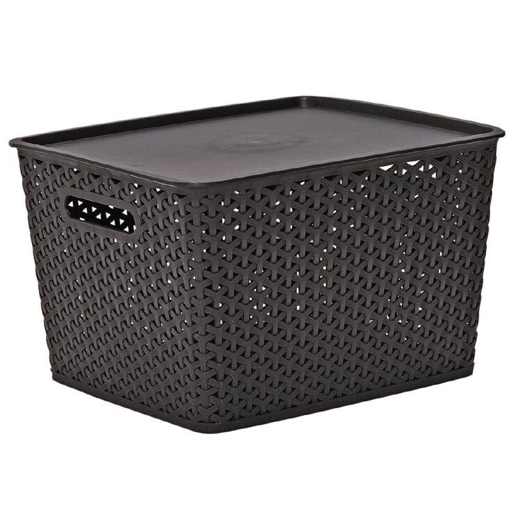Living & Co Rattan Storage Tub Black 18L, , hi-res