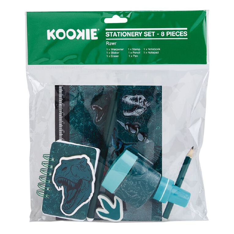 Kookie Rawr Stationery Set Green, , hi-res