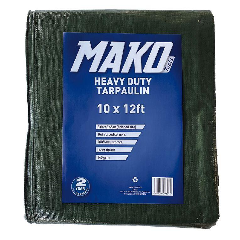 Mako Tarpaulin 140gsm 10ft x 12ft Green, , hi-res