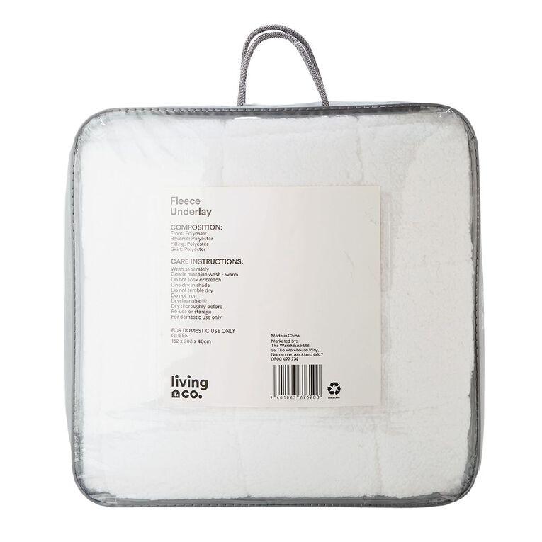 Living & Co Underlay Fleece White Single, White, hi-res
