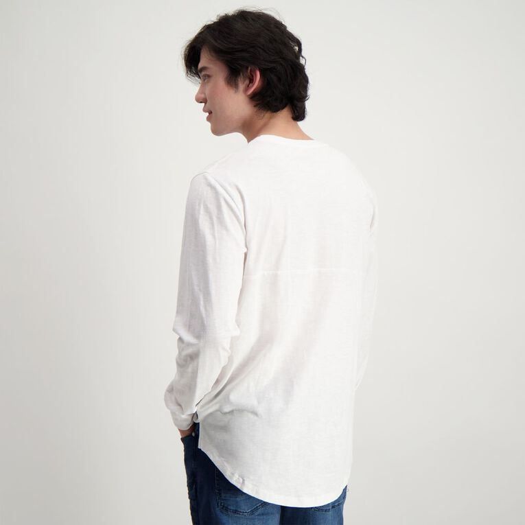 Garage Men's Long Sleeve Slub Tee, White, hi-res