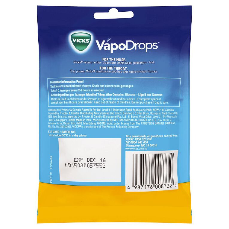 Vicks VapoDrops Butter Menthol Lozenges 24s, , hi-res