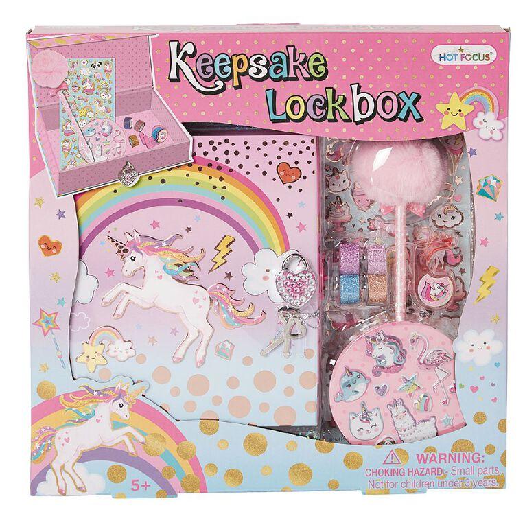 Hot Focus Keepsake Lockbox Unicorns, , hi-res