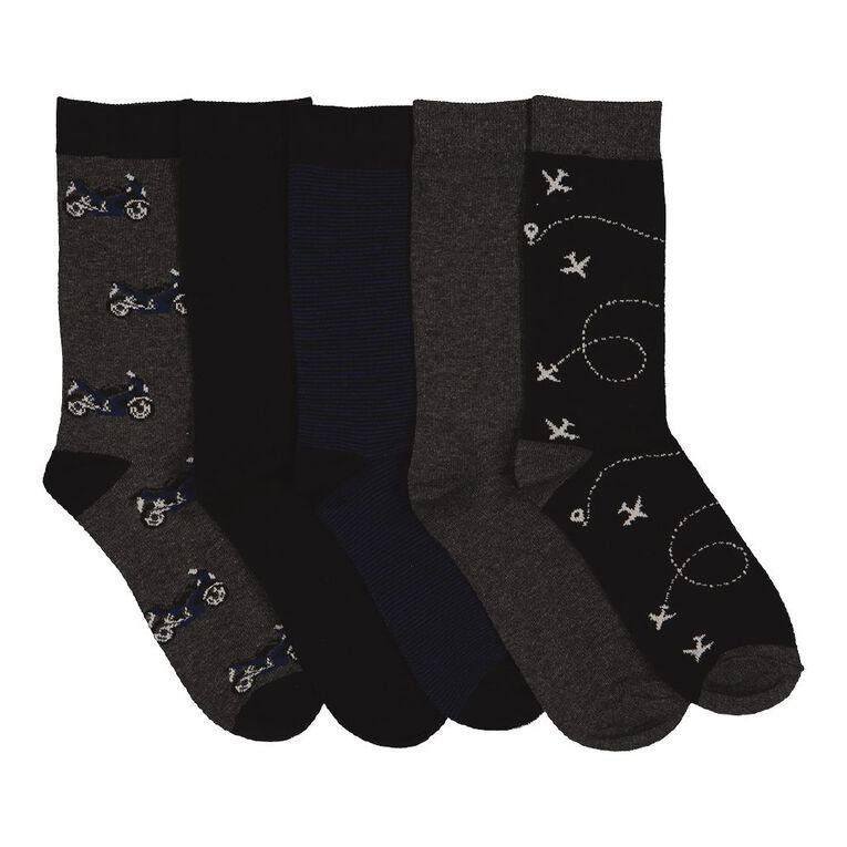 H&H Men's Business Crew Patterned Socks 5 Pack, Grey Dark, hi-res