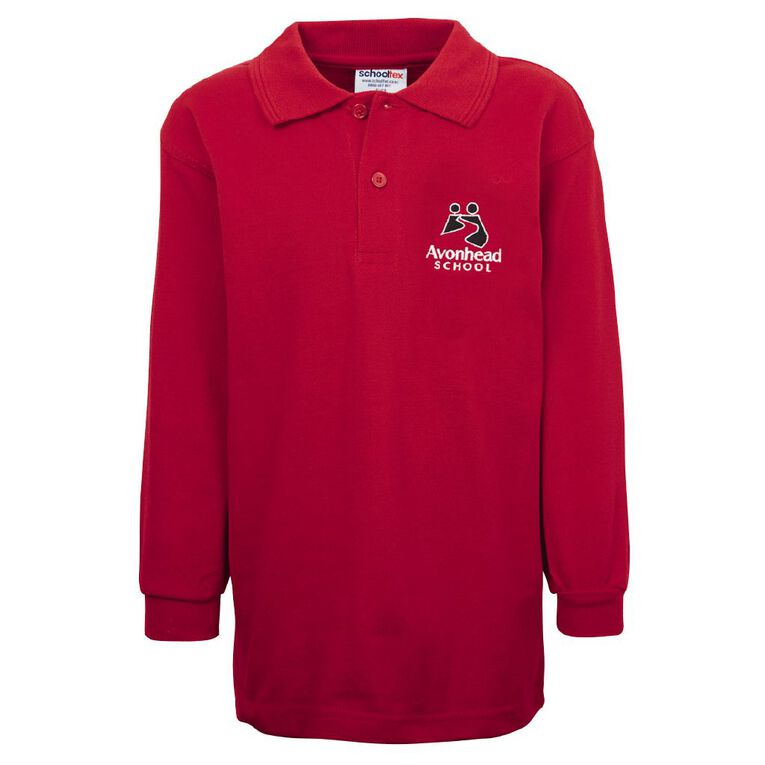 Schooltex Avonhead Long Sleeve Polo with Embroidery, Red, hi-res
