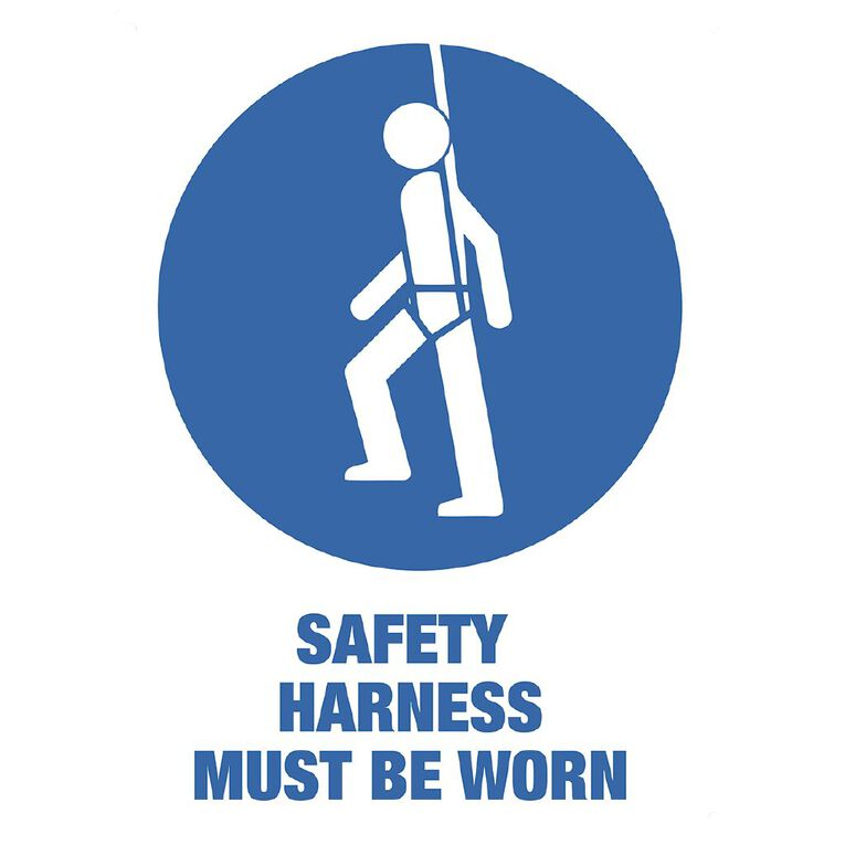 WS Safety Harness Must be Worn Sign Large 600mm x 450mm, , hi-res