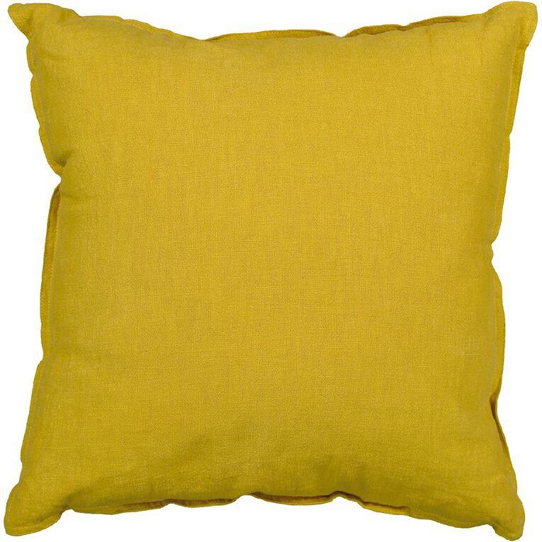 Living & Co Linen Rich Cushion Tawny Olive Yellow 50cm x 50cm, Yellow, hi-res