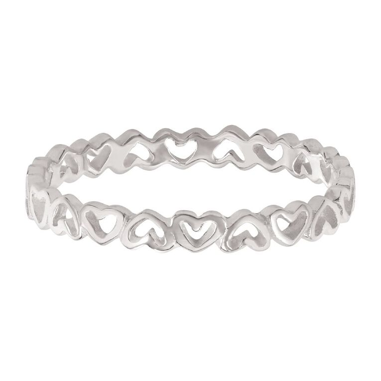 Sterling Silver Hearts Ring, Sterling Silver, hi-res