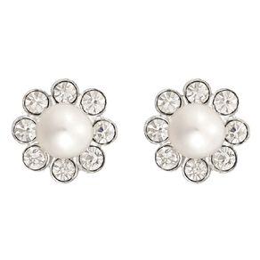 Sterling Silver Fresh Water Pearl Crystal Flower Stud Earrings