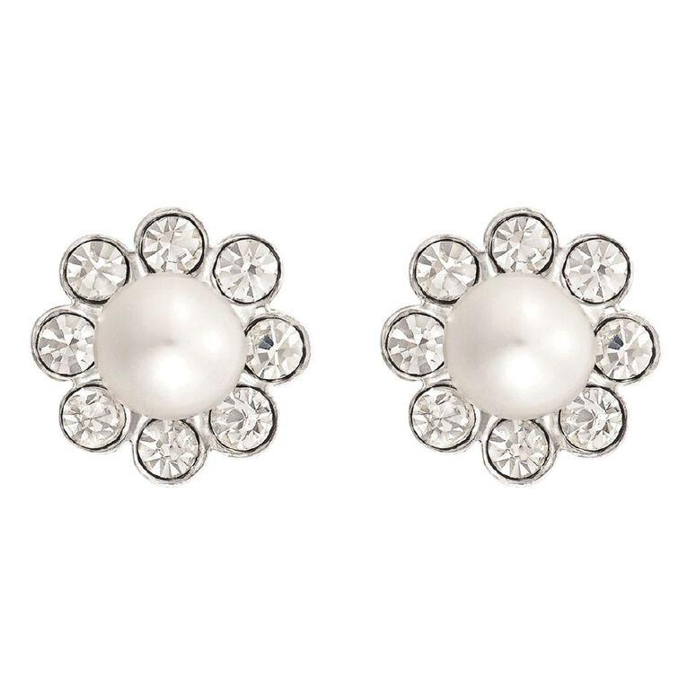 Sterling Silver Fresh Water Pearl Crystal Flower Stud Earrings, , hi-res