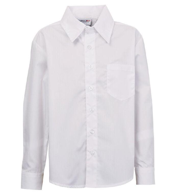 Schooltex Long Sleeve School Shirt, White, hi-res