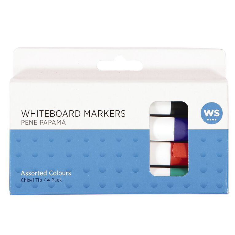 WS Whiteboard Markers Chisel 4 Pack Assorted, , hi-res