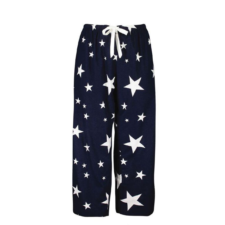 H&H Cosy Curvy Women's Flannelette Pyjama Pants, Navy, hi-res