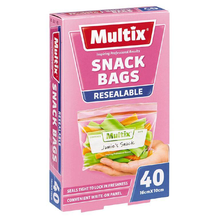 Multix Quick Zip Resealable Snack Bags 40 Pack, , hi-res