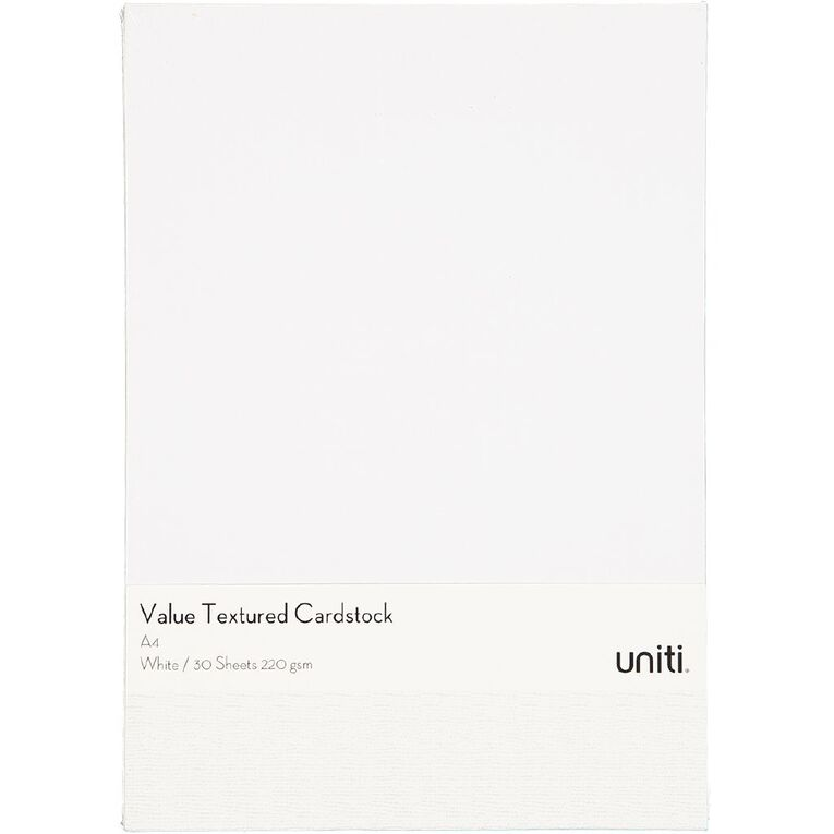 Uniti Value Cardstock Textured 220gsm 30 Sheets White A4, , hi-res