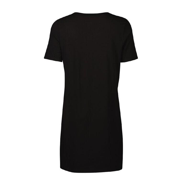 H&H Women's Short Sleeve Nightie, Black, hi-res