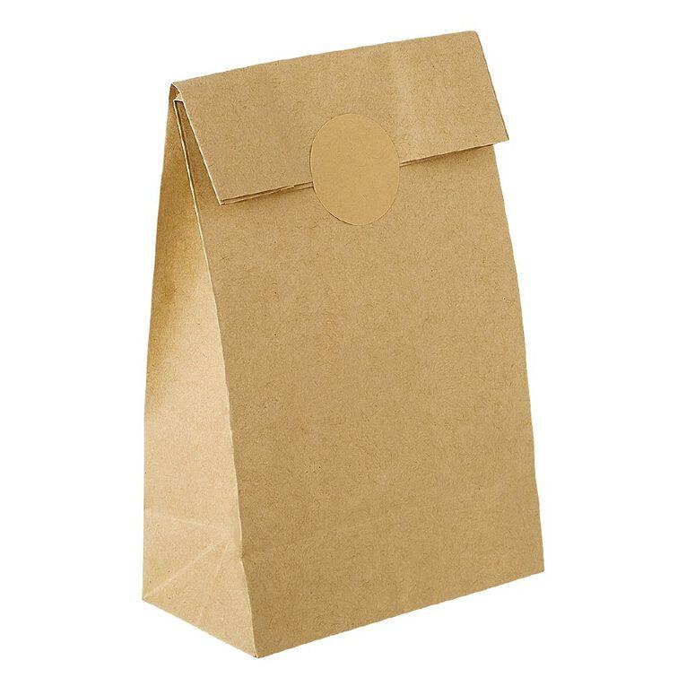 Party Inc Kraft Loot Bags with Seals Plain 21.5cm x 12cm 6 Pack, , hi-res