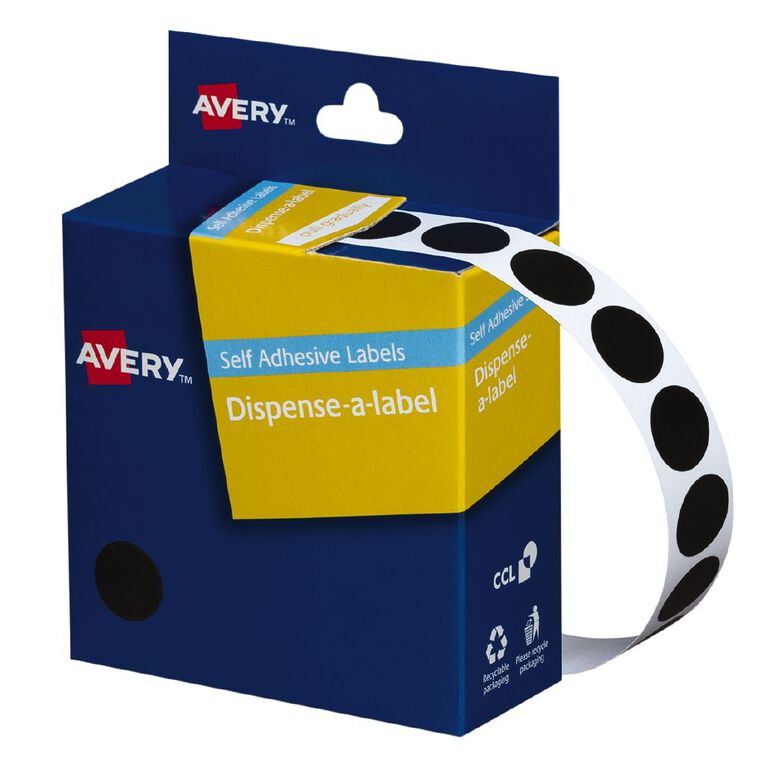 Avery Black Dispenser Dot Stickers 14mm diameter 1050 Labels, , hi-res