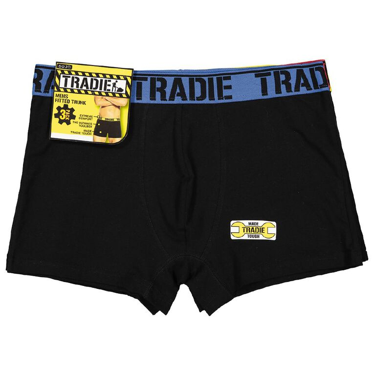 Tradie Men's Trunks 3 Pack, Black, hi-res