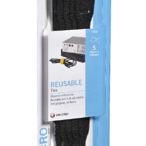 VELCRO Brand Reusable Ties 5 x 200mm Black