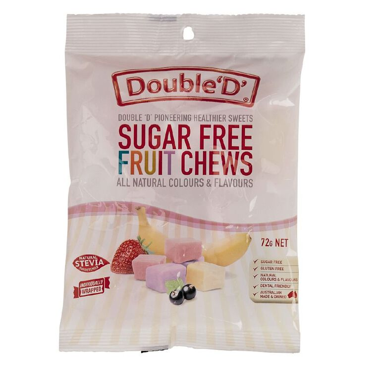 Double D Sugar Free Fruit Chews 72g, , hi-res