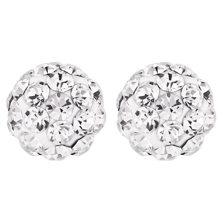 Sterling Silver Crystal Stud Earrings 6mm, , hi-res