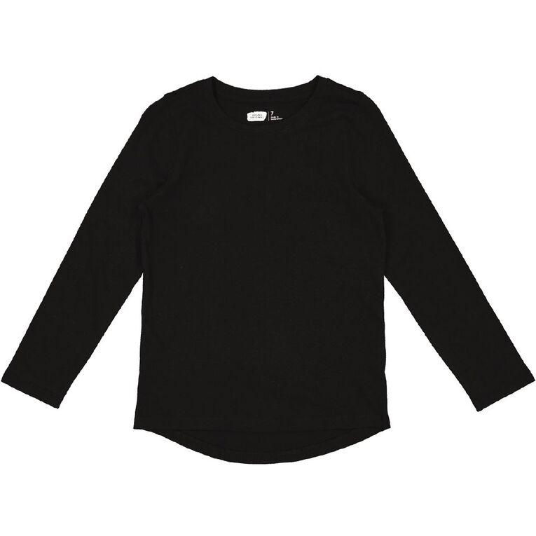 Young Original Long Sleeve Plain Tee, Black, hi-res