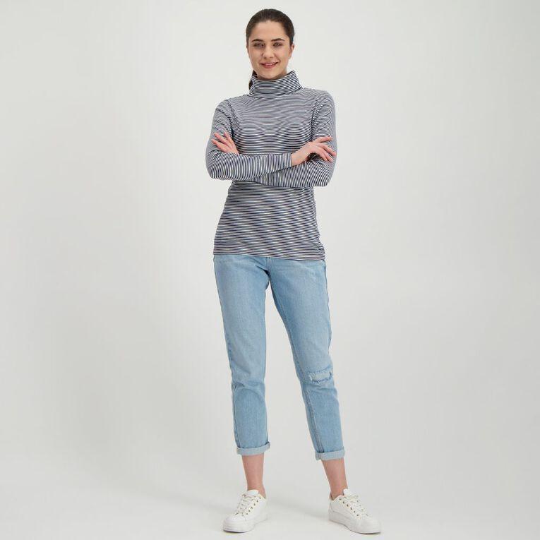 H&H Women's Rib Skivvy, Navy/White, hi-res