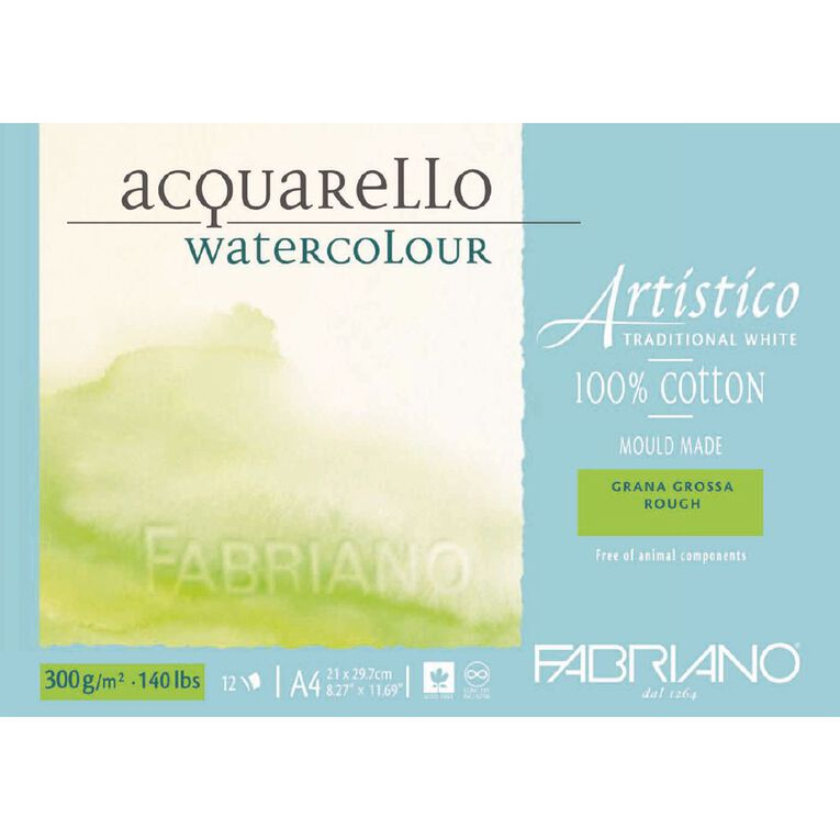 Fabriano Artistico Watercolour Pad Rough 300GSM 12 Sheets A4, , hi-res