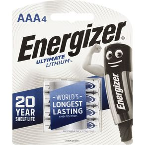 Energizer Ultimate Lithium Batteries AAA 4 Pack